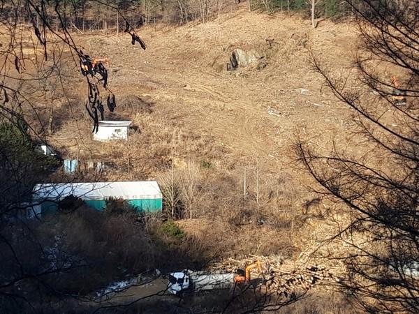 대규모 상용업 태양광발전 시설이 건립 될 갈목길 일대현장(2019년 부지조성 후)